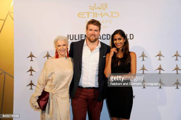 Maye Musk Zach Miko and guest attend Etihad Airways Celebrating Runway To Runway With Special Guest Julien MacDonald Obe at Skylight Clarkson Sq on...