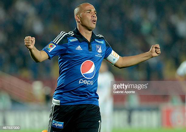 Mayer Candelo of Millonarios celebrates after scoring the first goal of his team during a match between Millonarios and Deportivo Pasto as part of...