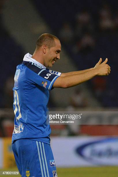 Mayer Candelo of Millonarios celebrates his goal and the only goal of the game during a match between Junior and Millonarios as part of round 10 of...