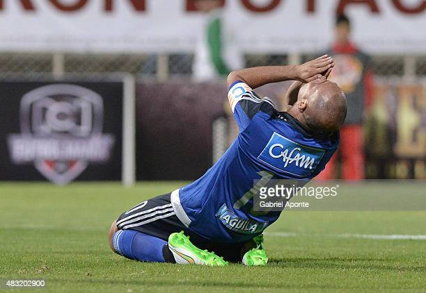 Mayer Candelo of Millonarios laments after losing a chance to score during a match between Patriotas FC and Millonarios as part of Liga Aguila II...