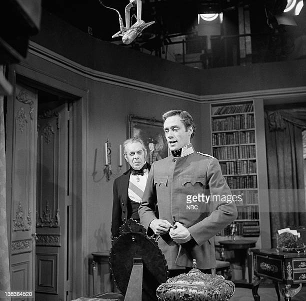PRODUCERS' SHOWCASE Mayerling Episode 7 Aired Pictured Raymond Massey as The Prime Minister Mel Ferrer as Crown Prince Rudolph