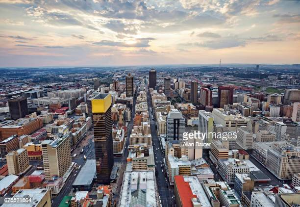 Mayfair and Selby districts of Johannesburg City Centre at sunset