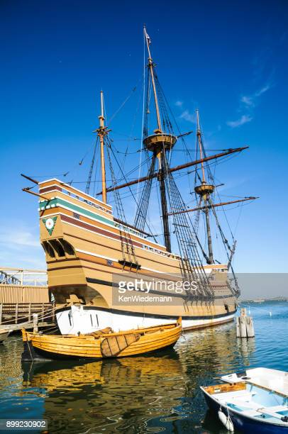 mayflower ii and landing boat - the mayflower stock photos and pictures
