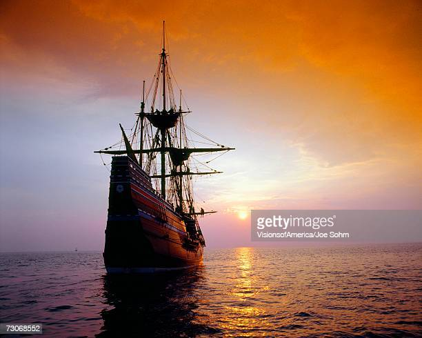 """mayflower ii replica at sunset, massachusetts"" - pirate ship stock photos and pictures"