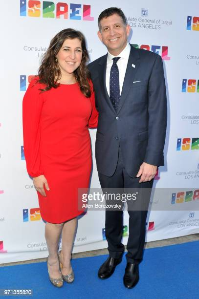 Mayim Bialik and Consul General of Israel Los Angeles Sam Grundwerg attend a private celebration of The 70th Anniversary of Israel hosted by the...