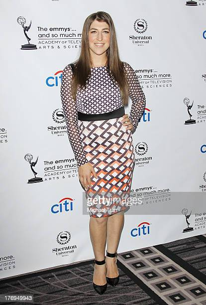 Mayim Bialik arrives at the Academy of Television Arts Sciences' Performers Peer Group cocktail reception to celebrate The 65th Primetime Emmy Awards...