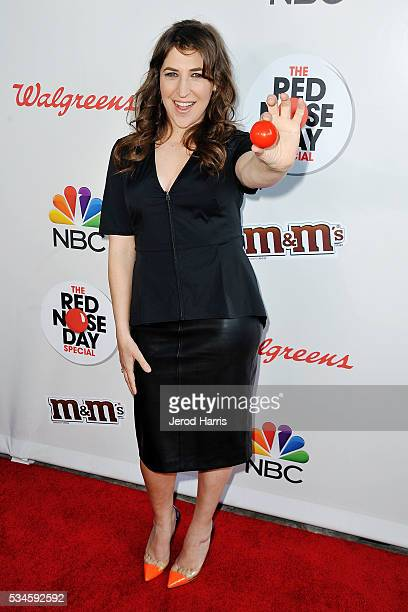 Mayim Bialik arrives at the Red Nose Day Special on NBC at Alfred Hitchcock Theater at Universal Studios on May 26 2016 in Universal City California