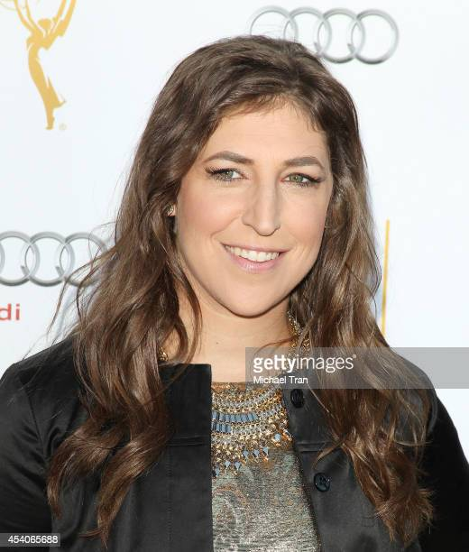 Mayim Bialik arrives at the Television Academy Performers Nominee Reception for The 66th Emmy Awards held at Spectra by Wolfgang Puck at the Pacific...
