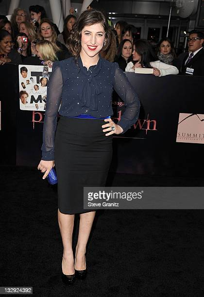 Mayim Bialik attends The Twilight Saga Breaking Dawn Part 1 at Nokia Theatre LA Live on November 14 2011 in Los Angeles California
