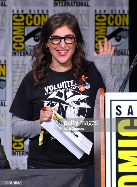 Mayim Bialik speaks onstage at Inside The Big Bang Theory Writers' Room during ComicCon International 2018 at San Diego Convention Center on July 20...