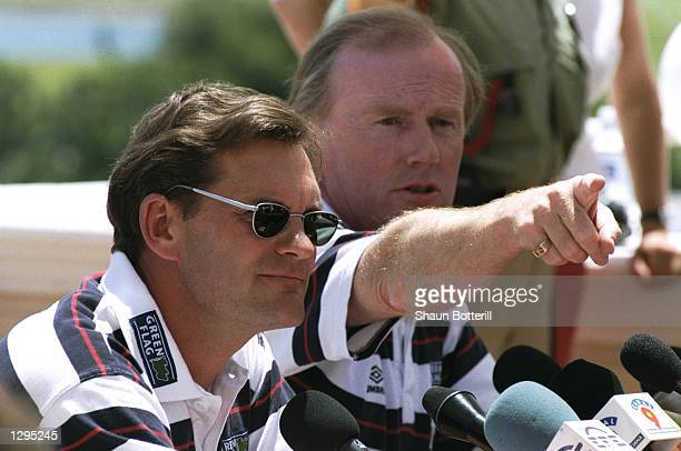 England Coach Glenn Hoddle and David Davies of the FA talk at a press conference during preWorld Cup training at their camp in La Manga Spain...