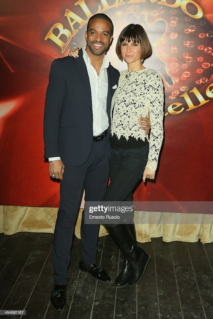Maykel Fonts and Veronica Logan attend the 'Ballando con le stelle' 100th Episode Party at La Villa on December 9, 2013 in Rome, Italy.