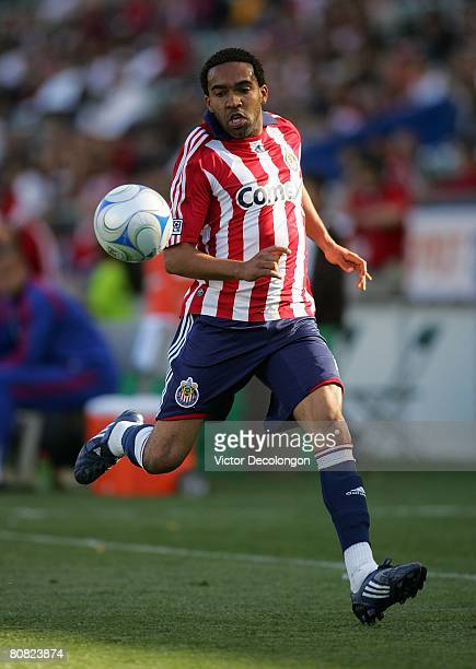 Maykel Galindo of CD Chivas USA paces the ball on the left wing during their MLS game against FC Dallas at the Home Depot Center on April 20 2008 in...