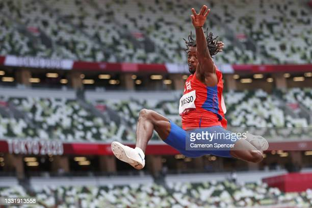 Maykel Masso of Team Cuba competes in the Men's Long Jump Final on day ten of the Tokyo 2020 Olympic Games at Olympic Stadium on August 02, 2021 in...