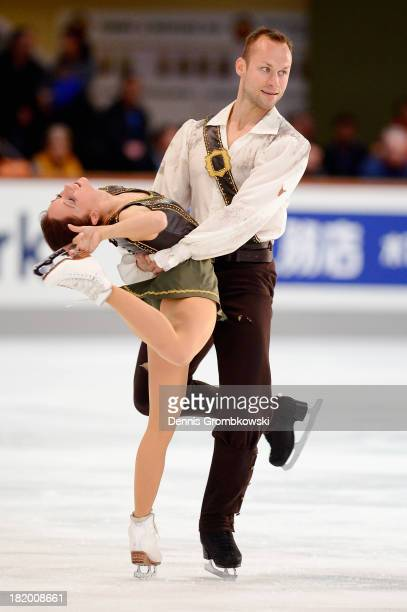 Maylin and Daniel Wende of Germany compete in the Pair's Free Skating competition during day two of the ISU Nebelhorn Trophy at Eissportzentrum...