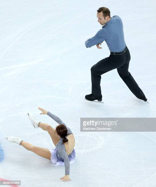 Maylin Wende and Daniel Wende of Germany have a fall during the Figure Skating Pairs Short Program on day four of the Sochi 2014 Winter Olympics at...
