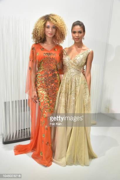 Maylys Lheureux and Bourt Tracy attend the Christophe Guillarme show as part of the Paris Fashion Week Womenswear Spring/Summer 2019 on October 2...