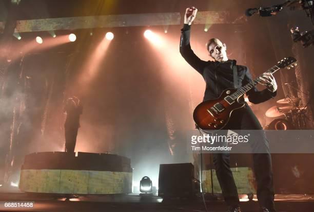 Maynard James Keenan and Billy Howerdel of A Perfect Circle perform at Bill Graham Civic Auditorium on April 13 2017 in San Francisco California