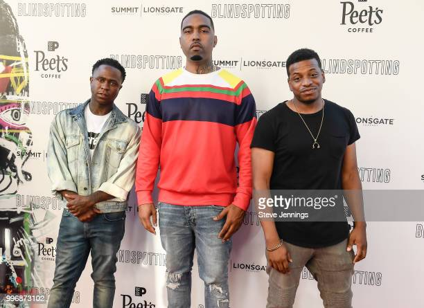 Mayne Mannish Clyde Carson and Sho Nuff attend the Premiere of Summit Entertainment's 'Blindspotting' at The Grand Lake Theater on July 11 2018 in...