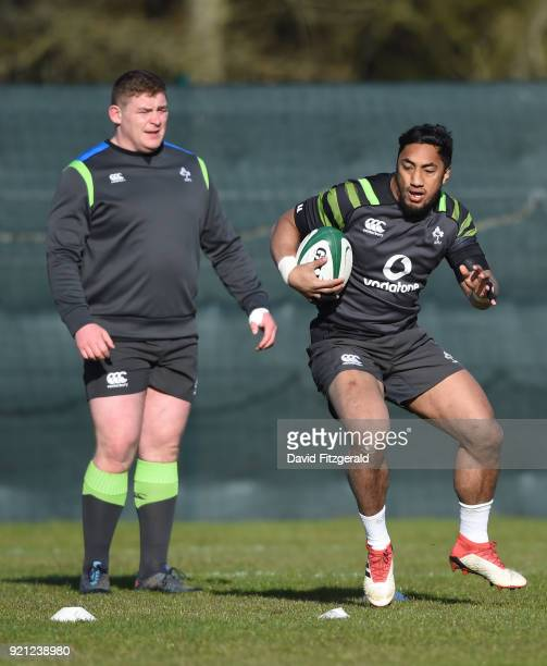 Maynooth Ireland 20 February 2018 Bundee Aki during Ireland Rugby squad training at Carton House in Maynooth Co Kildare