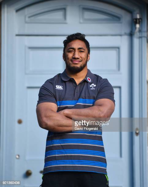 Maynooth Ireland 20 February 2018 Bundee Aki poses for a portrait following an Ireland press conference at Carton House in Maynooth Co Kildare