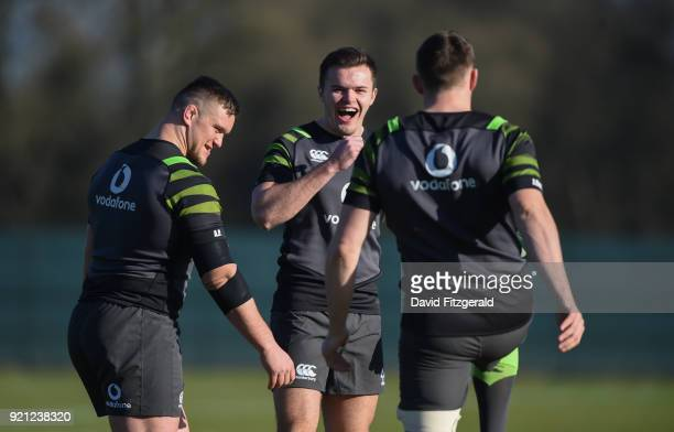 Maynooth Ireland 20 February 2018 Jacob Stockdale centre Andrew Porter left and Garry Ringrose during Ireland Rugby squad training at Carton House in...