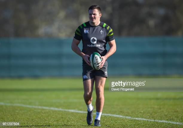 Maynooth Ireland 20 February 2018 Jacob Stockdale during Ireland Rugby squad training at Carton House in Maynooth Co Kildare
