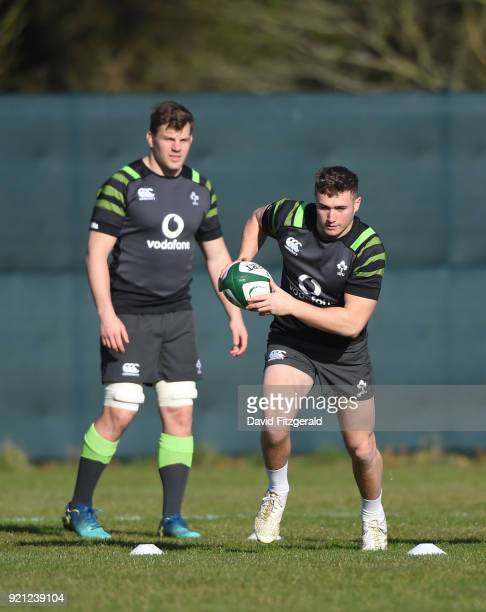 Maynooth Ireland 20 February 2018 Jordan Larmour right and Jordi Murphy during Ireland Rugby squad training at Carton House in Maynooth Co Kildare