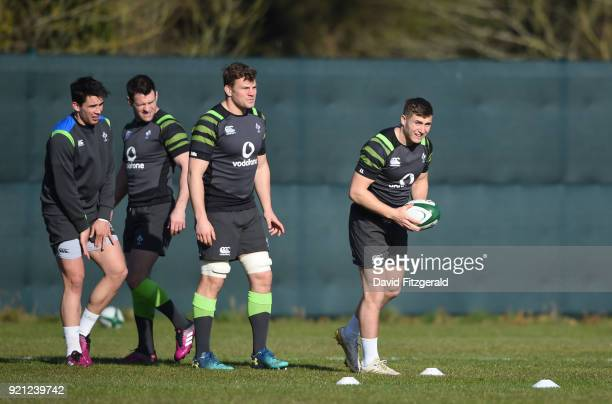 Maynooth Ireland 20 February 2018 Jordan Larmour right Jordi Murphy Fergus McFadden and Joey Carbery during Ireland Rugby squad training at Carton...