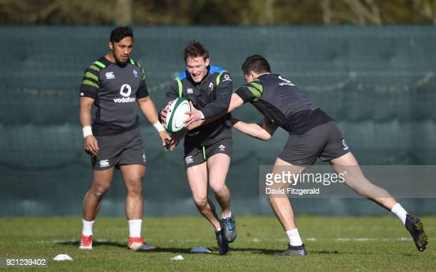Maynooth Ireland 20 February 2018 Kieran Marmion is tackled by Jacob Stockdale during Ireland Rugby squad training at Carton House in Maynooth Co...