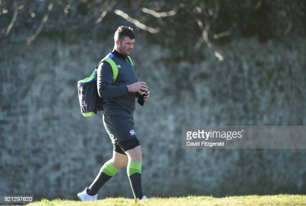 Maynooth Ireland 20 February 2018 Peter O'Mahony arrives for Ireland Rugby squad training at Carton House in Maynooth Co Kildare