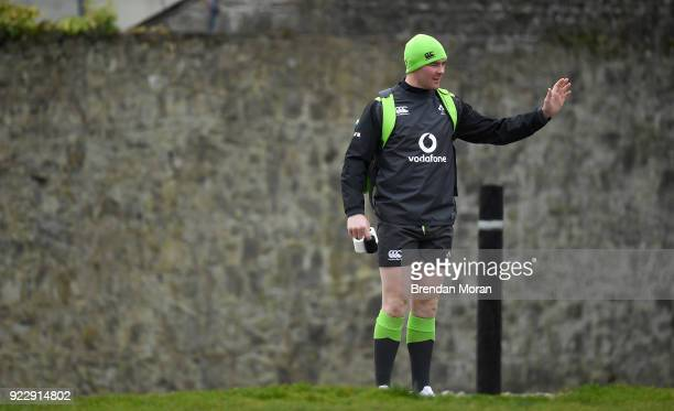 Maynooth Ireland 22 February 2018 Peter O'Mahony arrives for Ireland rugby squad training at Carton House in Maynooth Co Kildare