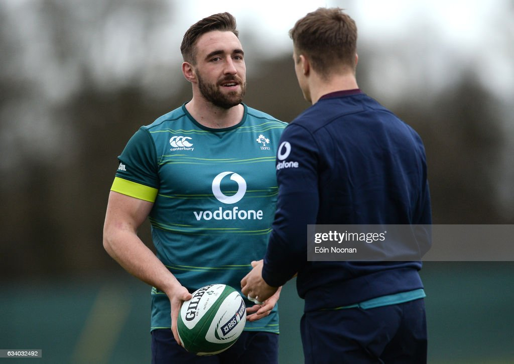 Maynooth , Ireland - 6 February 2017; Jack Conan, left, of Ireland speaking to Josh van der Flier during squad training at Carton House in Maynooth, Co. Kildare.
