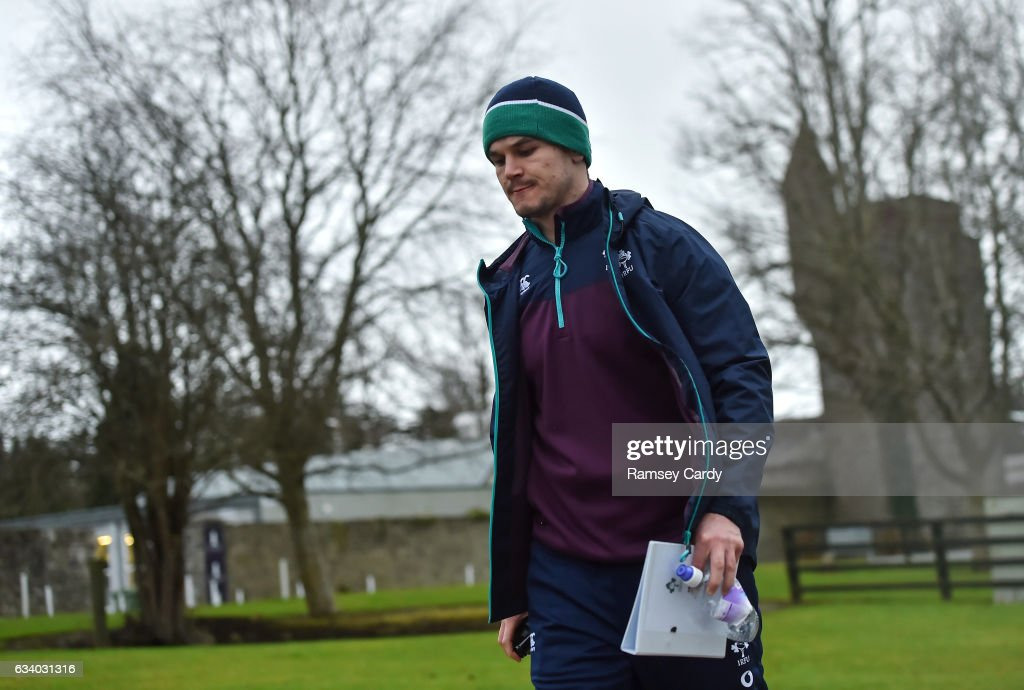 Maynooth , Ireland - 6 February 2017; Jonathan Sexton of Ireland arrives for squad training at Carton House in Maynooth, Co. Kildare.