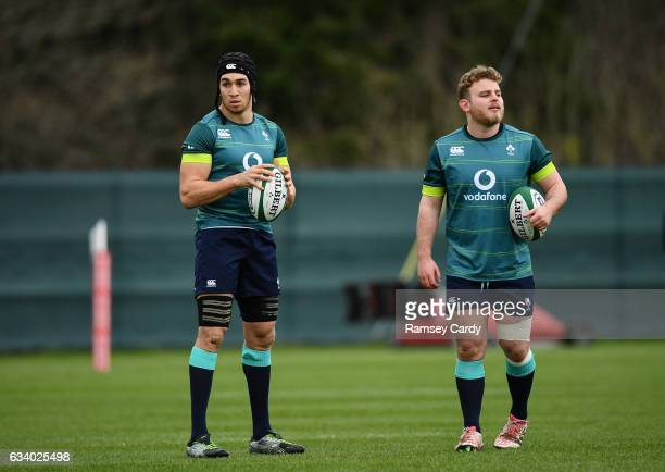 Maynooth , Ireland - 6 February 2017; Ultan Dillane, left, and Finlay Bealham of Ireland during squad training at Carton House in Maynooth, Co....