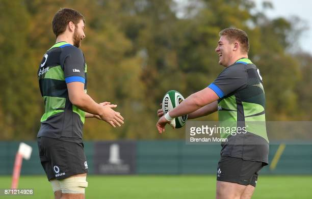 Maynooth Ireland 7 November 2017 Iain Henderson left and Tadhg Furlong during Ireland rugby squad training at Carton House in Maynooth Kildare