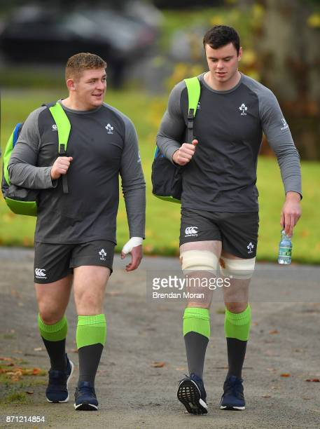 Maynooth Ireland 7 November 2017 Tadhg Furlong left and James Ryan arrive for Ireland rugby squad training at Carton House in Maynooth Kildare