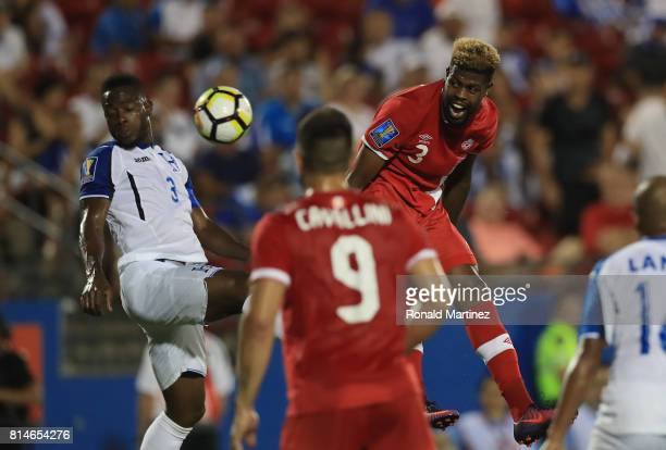 Maynor Figuero of Honduras and Manjrekar James of Canada during the 2017 CONCACAF Gold Cup at Toyota Stadium on July 14 2017 in Frisco Texas