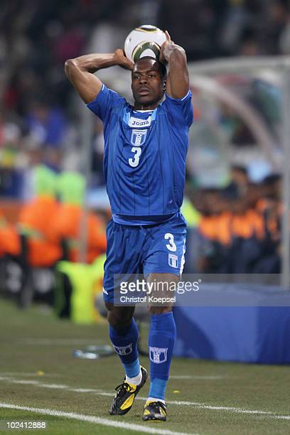 Maynor Figueroa of Honduras takes a throw in during the 2010 FIFA World Cup South Africa Group H match between Switzerland and Honduras at the Free...