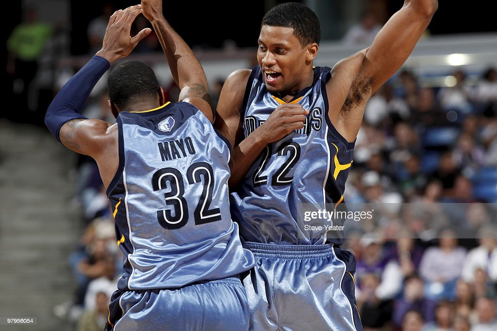 OJ Mayo #32 and Rudy Gay #22 of the Memphis Grizzlies celebrate defeating the Sacramento Kings on March 22, 2010 at ARCO Arena in Sacramento, California.