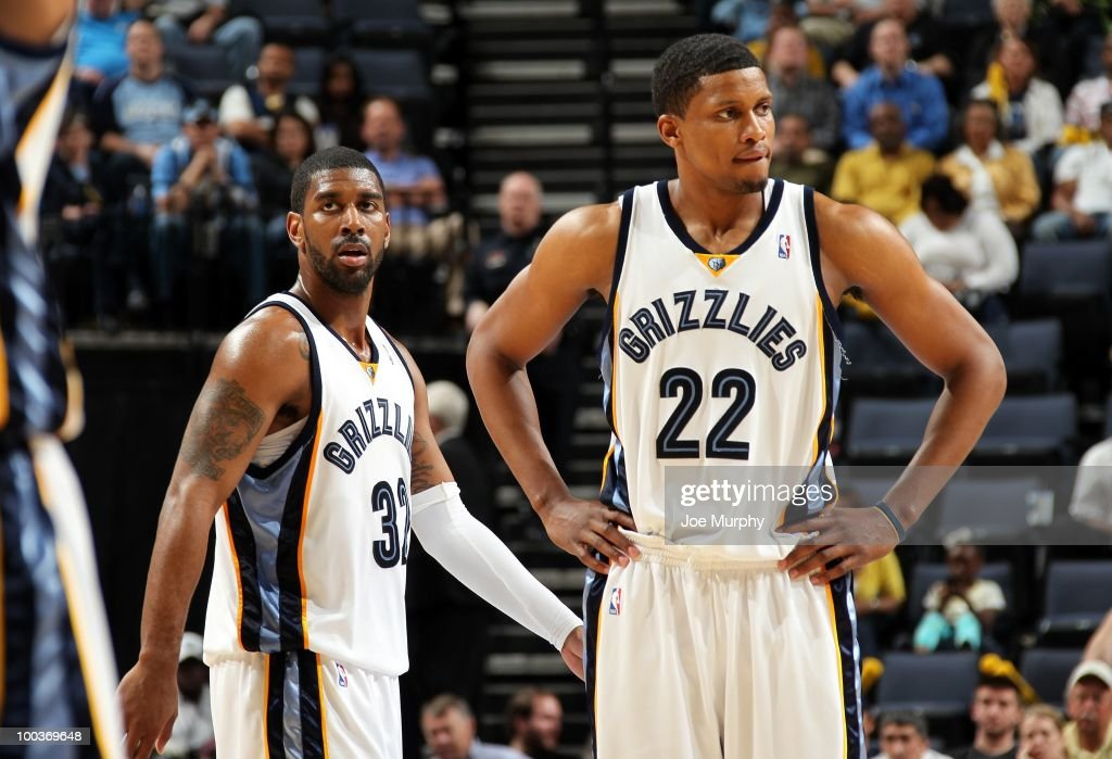O.J. Mayo #32 and Rudy Gay #22 of the Memphis Grizzlies stand on the court during the game against the Dallas Mavericks at the FedExForum on March 31, 2010 in Memphis, Tennessee. The Mavs won 106-102.