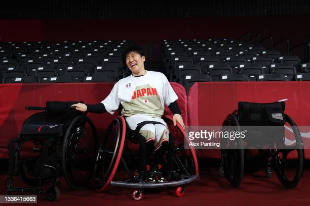 Mayo Hagino of Team Japan laughs during the Wheelchair Basketball Women's preliminary round group A match between team Japan and team Great Britain...