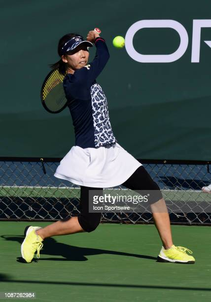 Mayo Hibi chases down the ball in a match played during the Oracle Challenger Series, on January 23 at the Newport Beach Tennis Club in Newport...
