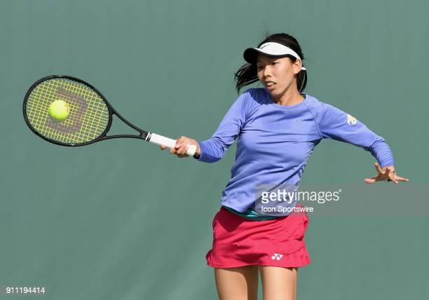Mayo Hibi hits a forehand shot during a semifinal match against Sofya Zhuk during the Oracle Challenger Series played at the Newport Beach Tennis...