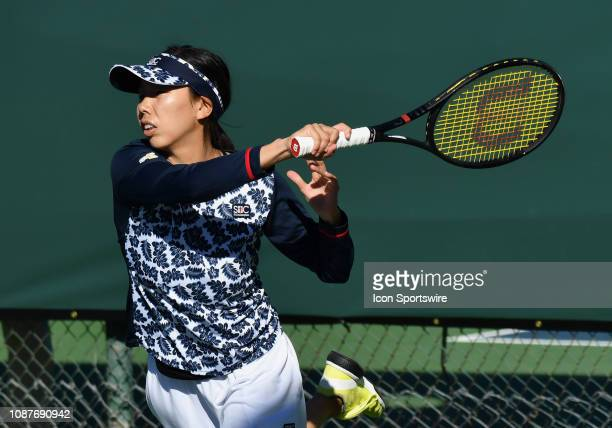 Mayo Hibi in action in a match played during the Oracle Challenger Series, on January 23 at the Newport Beach Tennis Club in Newport Beach, CA.