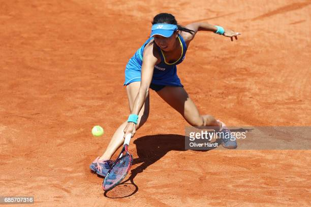 Mayo Hibi of Japan in action against Anastasiya Komardina of Russia in the qualification round during the WTA Nuernberger Versicherungscup on May 20,...