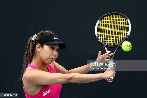 Mayo Hibi of Japan plays a backhand in her match against Varvara Lepchenko of the United States during day two of the WTA 500 Gippsland Trophy at...