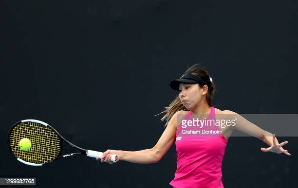 Mayo Hibi of Japan plays a forehand in her match against Varvara Lepchenko of the United States during day two of the WTA 500 Gippsland Trophy at...
