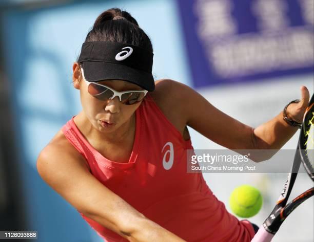 Mayo Hibi of Japan plays against Zhang Ling of Hong Kong at Chevalier Hong Kong ITF Women's Circuit Series in Victoria Park, Causeway Bay. 31DEC13