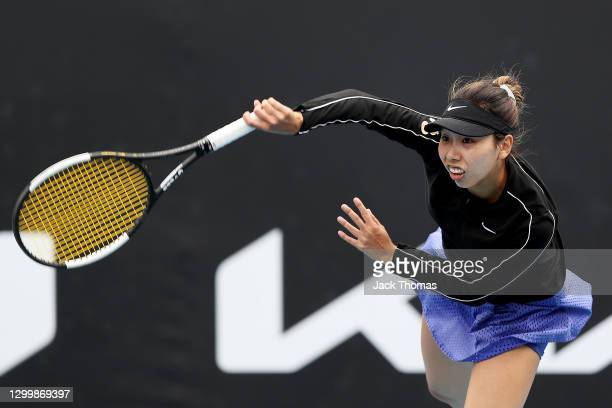 Mayo Hibi of Japan serves in her Women's Singles Second Round Match against Elise Mertens of Belgium during day three of the WTA 500 Gippsland Trophy...